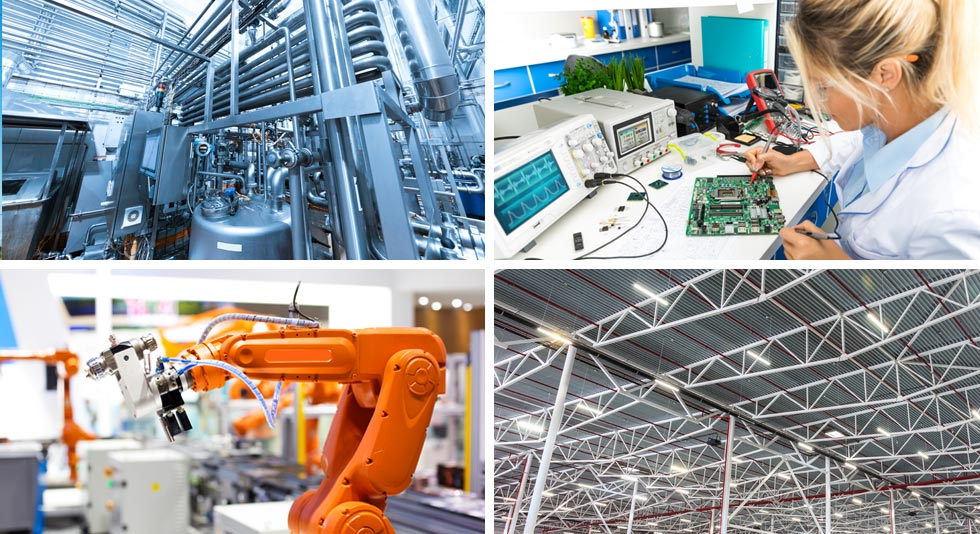 four different images of Heating and cooling room, testing equipment, automation arm and industrial lighting