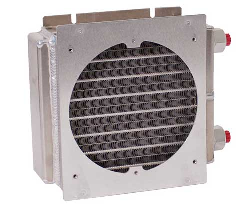 Aluminum Oil Cooler Heat Exchanger with Large Fan Mounting Frame