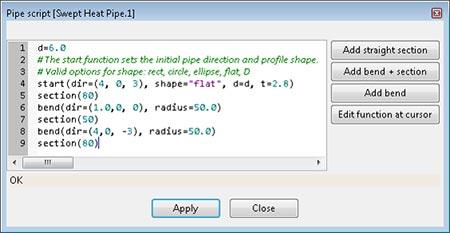 Aavid SmartCFD sweep Heat Pipe Script