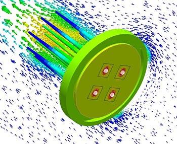 유량 벡터를 가진 Avid SmartCFD LED 핀 핀 방열판 열 윤곽